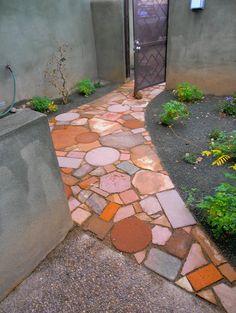 Walkway made of recycled materials-Waterwise Landscapes - Landscapes (Xeriscape) - Landscape Landscaping With Rocks, Yard Landscaping, Landscaping Ideas, Landscape Plans, Landscape Design, Landscape Elements, Garden Paths, Garden Art, Garden Ideas