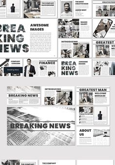 Breaking News - Keynote Template Powerpoint Design Templates, Powerpoint Themes, Graphic Design Templates, Creative Powerpoint, Keynote Template, Brochure Template, Presentation Layout, Business Presentation, Presentation Templates