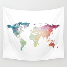 Map Tapestry, Rainbow Tapestry, World Map Wall Hanging, Globe Tapestry, World…