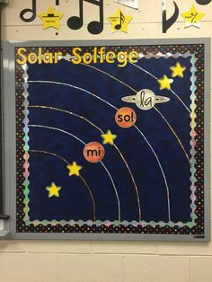 Solar Solfége Bulletin Board Music Bulletin Boards, Music Classroom, Fun Activities, Solar, School Ideas, Inspired, Decor, Decoration, Music Education
