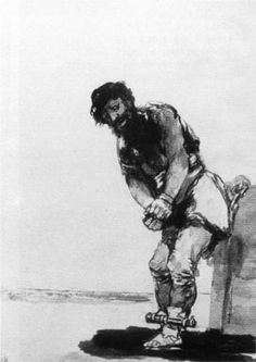 Francisco Goya: Chained Prisoner Indian ink wash, 218 x 151 mm Musée Bonnat, Bayonne Francisco Goya, Spanish Painters, Spanish Artists, Art Database, Figure Painting, Outdoor Travel, Salvador, Great Artists, Bordeaux