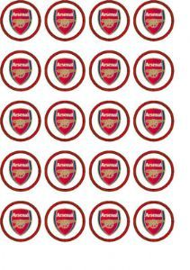 24 arsenal rice paper cake toppers