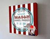 Personalized Baby Birth Announcement Canvas for any childs room. Circus Nursery, Baby Nursery Decor, Babies Nursery, Nursery Ideas, Nursery Canvas Art, Elephant Nursery Art, Birth Announcement Canvas, Elephant Design, Baby Birth