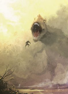 Wolverine vs T-rex by *nJoo