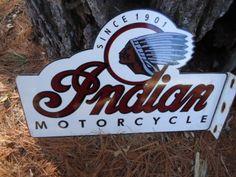VINTAGE-INDIAN-MOTORCYCLE-SINCE-1901-PORCELAIN-FLANGE-SIGN-2-SIDED
