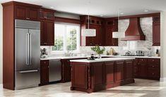 Cherry Wood Kitchens, Cherry Wood Cabinets, Dark Cabinets, 3d Kitchen Design, Kitchen Designs, Kitchen Ideas, Nice Kitchen, Country Kitchen, Cabinets For Less