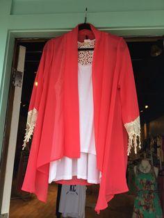 ••love this kimono with crochet trim••