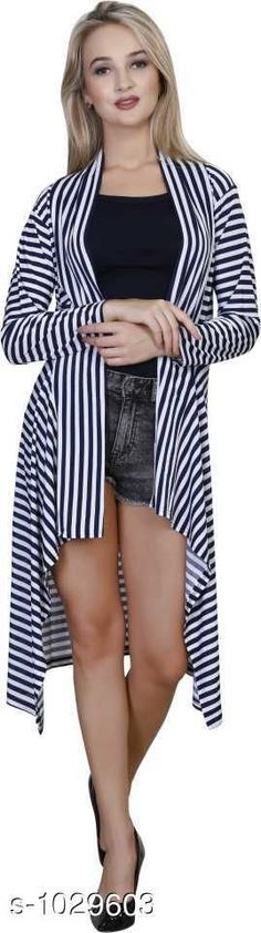 Capes, Shrugs & Ponchos Stylus Lycra Shrugs  *Fabric* Lycra  *Sleeves* Sleeves Are Included  *Size* M - 34 in, L - 36 in, XL -39 in  *Length* Up To 34 in  *Type* Stitched  *Description* It Has 1 Piece Of Women's Shrug  *Pattern* Striped  *Sizes Available* Free Size, M, L, XL *   Catalog Rating: ★4 (113)  Catalog Name: Cora Stylus Lycra Shrugs Vol 18 CatalogID_124406 C79-SC1024 Code: 904-1029603-