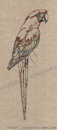 Scarlet Macaw free motion machine embroidery. Approx 80 x 30cm.  Available as a print. Contact pinkcouch@ymail.com