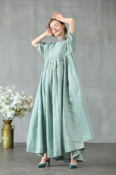 Quick Fashion Tips maxi linen dress in aqua green ruffle dress princess linen Green Maxi, Maxi Robes, Oversized Dress, Fashion Updates, Fashion Tips For Women, Linen Dresses, Everyday Outfits, Ruffle Dress, Fashion Dresses