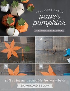 Make your own cute paper pumpkins for Halloween - suitable for children. Design and pattern by handcrafted lifestyle expert Lia Griffith. Manualidades Halloween, Adornos Halloween, Easy Halloween Crafts, Thanksgiving Crafts, Thanksgiving Decorations, Holiday Crafts, Fall Paper Crafts, Paper Crafts Origami, Pumpkin Crafts