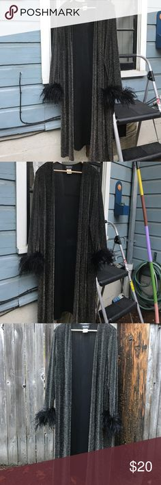Vintage feather robe Sweater, gown, robe, whatever it is, it's fabulous and sparkly. One size fits all but would say is closest to a large Vintage Intimates & Sleepwear Robes