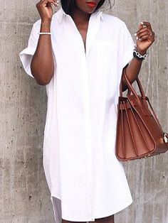 Shop Roll-Up Short Sleeve Irregular Button Shirt Dress right now, get great deals at joyshoetique Sleeve Styles, Sexy Women, White Dress, Short Sleeves, Buttons, Grilled Tilapia, Womens Fashion, Casual, Stuff To Buy
