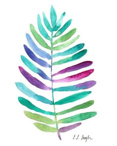 Jungle Palm Leaf original watercolor painting by GrowCreativeShop #watercolorarts