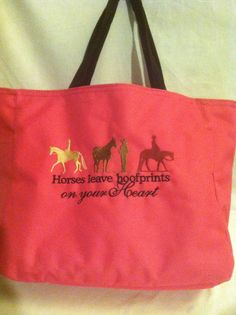 Tote Horse leave hoofprints by HorizonCustomEmbroid on Etsy