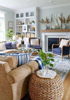 Navy and Neutral Fall Living Room walls- seasalt SW #LivingRoomIdeas