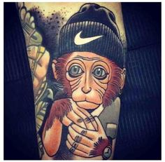Gangster Monkey Tattoo - Adrian Edek http://inkchill.com/gangster-monkey-tattoo/ #monkey #gangster #tattoo