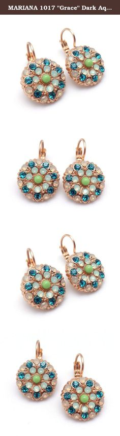 """MARIANA 1017 """"Grace"""" Dark Aqua & Light Green Swarovski Crystal Gold Plated Earrings 1"""". The artist and jewelry designer Mariana has been creating unique and original pieces of jewelry since 1997. Mariana's jewelry is famous all over the world. Her naive colorfulness and her flawless interfusion between old and new, fabric and stone, material and spirit is visible in every one of her jewels. It is the foundation; the heart and the core of her creation. Mariana's Jewelry has a lifetime..."""