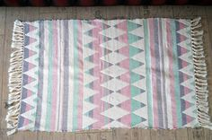 Vintage Handwoven Rugs 100% cotton Made in India by vintagdesign