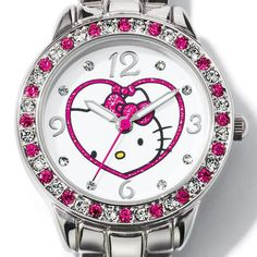 """Hello Kitty Bracelet Watch. Silvertone case with clear and colored rhinestone bezel and Hello Kitty®-embellished dial. Silvertone link bracelet, 6 1/2"""" L with two 3/4"""" extenders. Hello Kitty© 1976, 2013 Sanrio Co., Ltd. Used Under License. Click for more.  #AvonRep  #hellokitty  #hellokittywatch"""