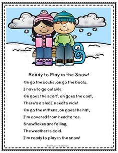 Winter Clothing Rhyme Freebie by KindyKats Songs For Toddlers, Kids Songs, Poems About School, School Poems, Snow Activities, Preschool Activities, I Love Winter, Winter Wear, Rhyming Preschool
