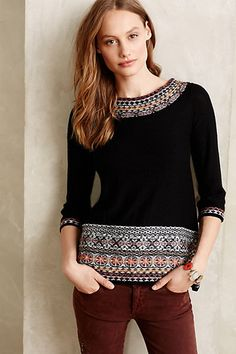fair isle fitted pullover sweater #anthrofave