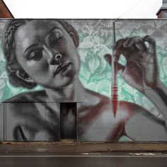 'La Mère Créatrice/The Mother Creator', 2016.  This is my most recent mural for the great city of Montreal. It is a symbolist homage to feminine beauty and creative force as represented by a figure that can be seen as a sort of fertility goddess wielding a glowing paintbrush, emanating light amongst verdant, leafy growth. As with most of my work this mural was a devotional labor of love and neurotic perfectionism.