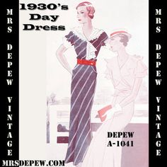 Vintage Sewing Pattern 1930's Dress With Collar in Any Size- Plus Size Included- Depew A-1041 Draft at Home Pattern -INSTANT DOWNLOAD-