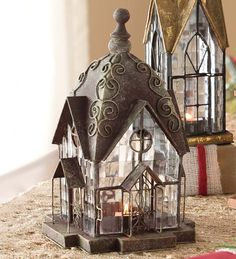 Metal & Glass Tealight Lantern | Holiday | Plow & Hearth