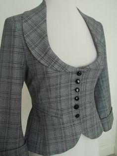 Scoop neck fitted checked jacket with length sleeves and back peplum, by River Island. Steampunk Clothing, Steampunk Fashion, Couture, Work Attire, Fashion Outfits, Womens Fashion, African Fashion, Blouse Designs, Work Wear