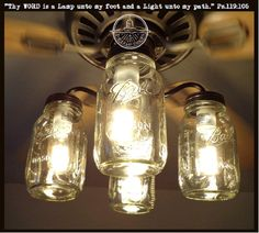 Rustic Mason Jar Ceiling Fan Light Kit Only With Vintage Pints Farmhouse Lighting Fixture Chandelier Pendant Flush Mount Track Lamp Goods In 2019 Stuff To