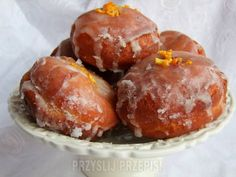 Donuts: a very old method (in Polish) Polish Recipes, Polish Food, Pretzel Bites, Brunch Recipes, Sausage, Muffin, Goodies, Menu, Favorite Recipes