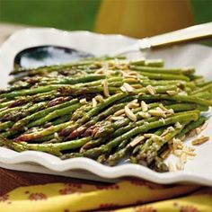Oooooh!    Oven-Roasted Asparagus with Garlic Gloves and Slivered Almonds