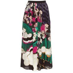 Mary Katrantzou Santhus Jewel Cloud-print silk skirt (18.417.385 IDR) ❤ liked on Polyvore featuring skirts, midi skirt, print cami, print midi skirt, silk midi skirt and calf length skirts