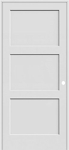 6 8 Tall 3 Panel Shaker Primed Interior Prehung Wood Door Unit 179 Each Wood Doors Interior Prehung Interior Doors Discount Interior Doors