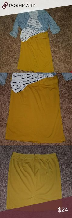 Mustard Yellow Ponte Knit Pencil Skirt This is a beautiful pencil skirt in a mustard yellow color. Take it form the office to a casual day out just by throwing on some denim. This is 25 inches in length. There is a small back slit and zipper closure. The Ponte knit allows for stretch. This was only worn one time only for pictures and was unable to return it. Absolutely no damage. Listing is for skirt only however other items are also in my closet.. Bundle to save.. little wiggle room…