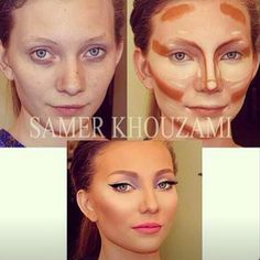 Highlighting and contouring are just ways to make your face look thinner,and make your bone structure look the way you want. You truly see the difference with cream: it provides that air-brushed seamless flawless time and it is all about blending. Favorite makeup artist who mastered the art of contouring is the Lebanese makeup artist Samer Khouzami: see the transformations