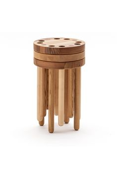 Poke Stool is the first furniture piece created by a typography designer, Kyuhyung Cho. The inspiration was to develop furniture for adults but keep a spirit of child like play in the form and function. The stool is simple, bold and playful. Modular Furniture, Fine Furniture, Unique Furniture, Wood Furniture, Furniture Design, Furniture Assembly, Wood Phone Holder, Stackable Stools, Blog Design Inspiration