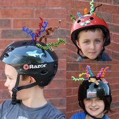 Great idea! Use pipe cleaners and mess-free glitter stickers to decorate bike helmets
