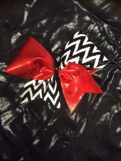 Red mystic/ black and white chevron cheer by TooFlippinCutebyBarb