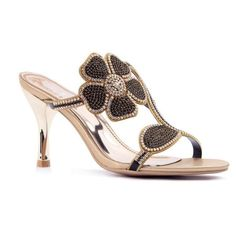 Black Flower Rhinestone Leather Sandals.... If the heels we're higher it would be perfect 4 me!