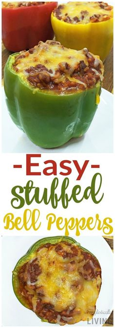 Easy Stuffed Bell Peppers stuffedpeppers bellpeppers easybellpeppers simplepeppers is part of Stuffed peppers - Meat Recipes, Dinner Recipes, Cooking Recipes, Healthy Recipes, Pepper Recipes, Quick Recipes, Jalapeno Recipes, Bell Peper Recipes, Chile Relleno