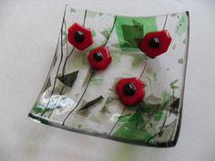Poppy fused glass mini dish