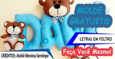 Molde de Letras - Seleção de Moldes de Letras para Artesanato em Feltro! Smurfs, Alphabet, Patches, Teddy Bear, Letters, Toys, Creative, Projects, Crafts