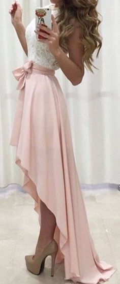 #outfit #ideas / lace top + pastel pink maxi skirt...