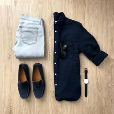 Men Casual Shirt Outfit 🖤 Very Attractive Casual Outfit Grid, Mens Fashion Blog, Fashion Mode, Fashion Outfits, Fashion Hats, Fasion, Style Fashion, Fashion Trends, Smart Casual Men, Business Casual Men