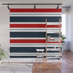 Red, White, and Blue Horizontal Striped Wall Mural by Blue Accent Walls, Blue Accents, Striped Walls Horizontal, Fabric Panels, Second Floor, Wall Murals, Red And Blue, Crisp, Adhesive