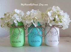 Distressed Mason Jar Decor, Nursery Decor, Baby Shower Mason Jars, Mason Jar Centerpeices, Lime Green, Baby Teal, White, Rustic Jars by MyHeartByHand on Etsy