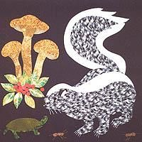 """Skunk block  for the Woodland Creatures Collector Series Quilt by Rosemary Makham, 18"""" square finished - applique cotton"""