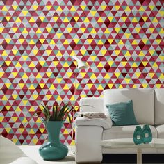 A stunning geometric design in a vibrant colour scheme from the Colours and Graphics Wallpaper Collection. Available at Go Wallpaper UK Graphic Wallpaper, Wallpaper Decor, Vibrant Colors, Colours, Textured Wallpaper, Purple Grey, Designer Wallpaper, Color Inspiration, Home Art